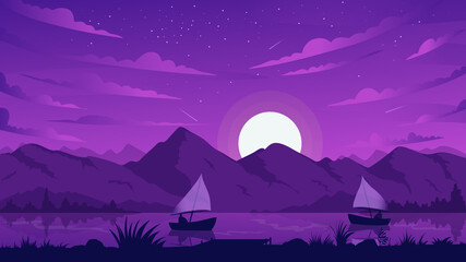 Night mountain landscape, fishing boat vector illustration. Cartoon river or lake coast scenery with fisher sailboat silhouettes floating on water and moonlight, midnight dark violet scene background