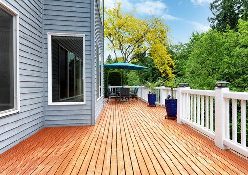 Home outdoor wooden deck with patio furniture and decoration palm plants