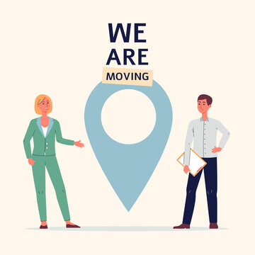 Concept of we are moving and business relocation a vector poster.