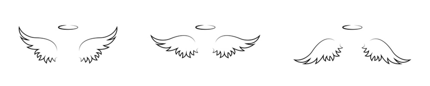 One line drawing wings set isolated on white background. Angel wings silhouette collection. Religious sign symbol icon set. Vector graphic.