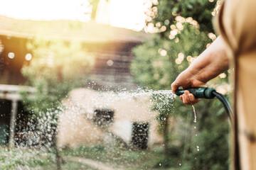 Fototapeta Female hand holding gardening hose, watering garden obraz