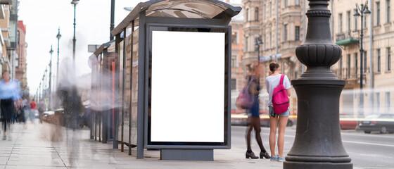 Fototapeta Outdoor advertising mockup for advertising in the bus shelter obraz