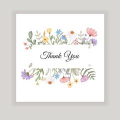 Obraz thank you card with wildflower illustration - fototapety do salonu