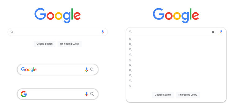 Google search bar window vector illustration set collection isolated on white background