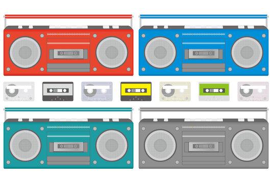 ラジカセとテープのベクターイラストのセット