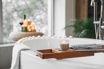 Obraz Stylish interior of modern bathroom with burning candles, closeup - fototapety do salonu