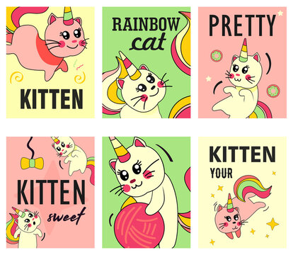 Unicorn Cat Flyers Set Funny Cartoon Summer Baby Kitten With Rainbow Horn Tail Illustrations