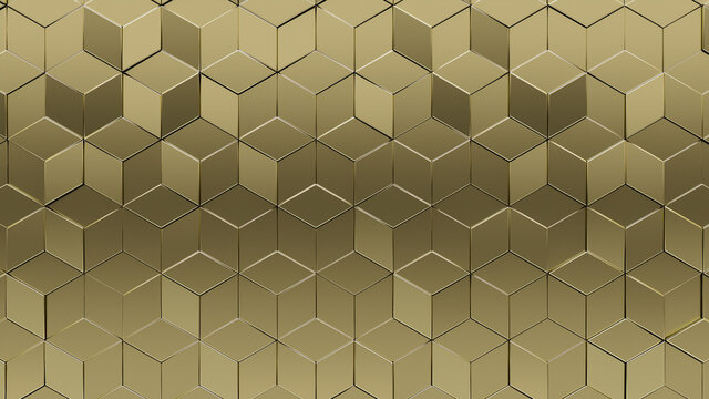 Diamond shaped, Gold Wall background with tiles. 3D, tile Wallpaper with Luxurious, Polished blocks. 3D Render