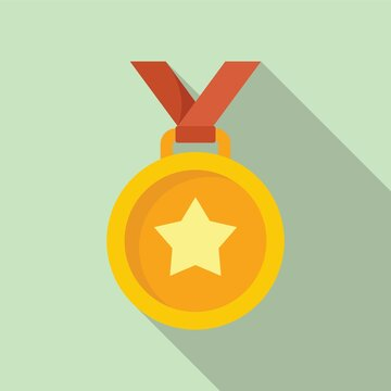 Gold medal icon, flat style