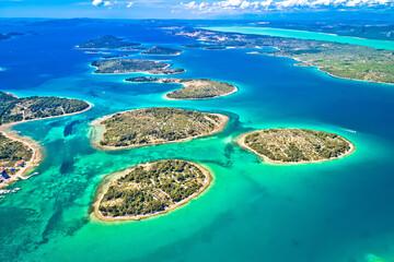 Murter island archipelago and Vransko Lake aerial view - fototapety na wymiar