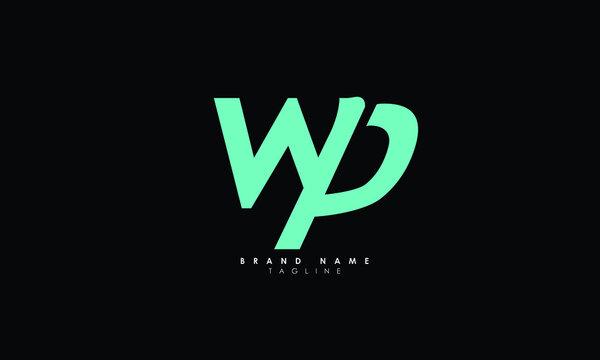 Alphabet letters Initials Monogram logo WP, PW, W and P