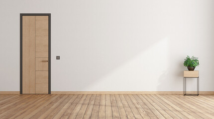 Obraz Empty room with closed door and houseplant - fototapety do salonu