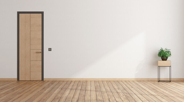 Empty room with closed door and houseplant