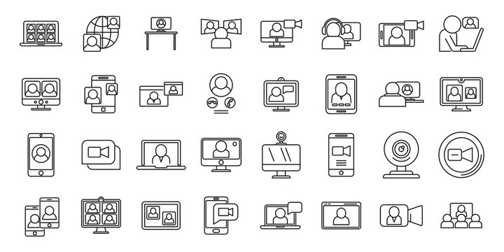 Video call app icons set, outline style
