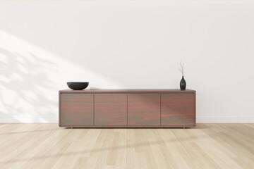 Obraz 3d rendering of minimal room with a dark wooden cabinet on laminate floor. Modern interior design. - fototapety do salonu
