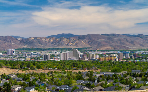 Reno, Nevada Usa, May 24, 2020  Downtown Skyline Cityscape Of Reno Nevada With Hotels And Casinos.