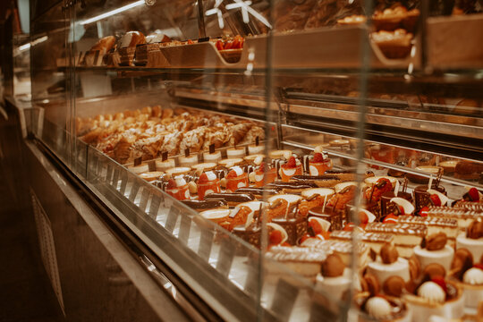 High Angle View Of Cakes In Bakery