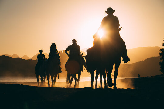 Silhouette People Riding Horses On Beach During Sunset