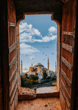 Buildings Against Sky Seen Through Arch Window. Hagia Sofia - Ayasofya