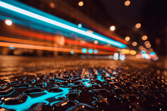 Light Trails, Sustainable Transportation, City Lights At Night, Rainfall Day