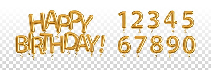 Vector realistic isolated golden balloon text of Happy Birthday with set of numbers on the transparent background. Concept of celebration and anniversary.