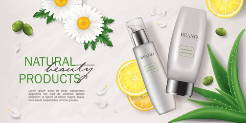 Obraz Banner of Natural skin care cosmetics with green plants, realistic vector illustration - fototapety do salonu