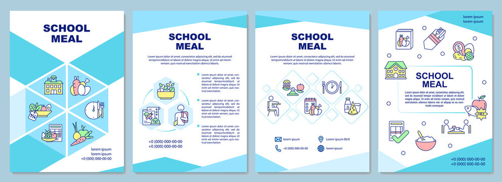 School meal brochure template. Creating school lunch for students. Flyer, booklet, leaflet print, cover design with linear icons. Vector layouts for presentation, annual reports, advertisement pages