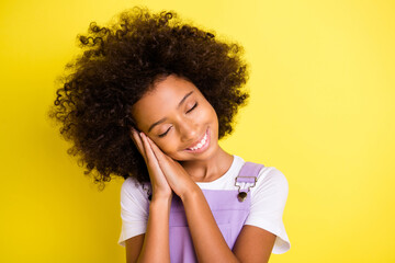 Obraz Portrait of pretty dreamy cheerful wavy-haired girl enjoying sleeping calm isolated over bright yellow color background - fototapety do salonu