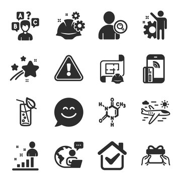 Set of Business icons, such as Water glass, Smile chat, Quiz test symbols. Give present, Find user, Airplane travel signs. Stats, Working process, Chemical formula. Engineering plan. Vector