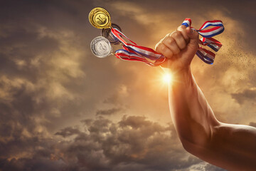 Obraz different medals in hand - Victory Concept - fototapety do salonu