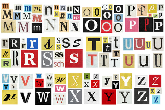Ransom note alphabet Paper cut letters newspaper magazine cutouts