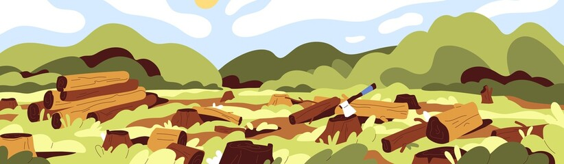 Obraz Landscape of dead nature with cut felled trees in forest. Deforestation, wood devastation and ecosystem destruction concept. Panoramic view of trunks and stumps. Colored flat vector illustration - fototapety do salonu