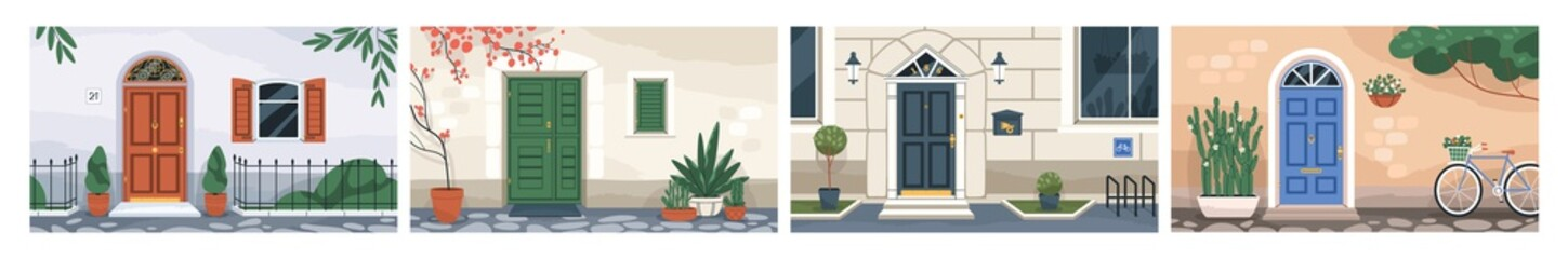 Fototapeta Front view of home walls with closed doors, windows with wooden shutters, mailboxes, potted plants, lanterns and bicycle parkings. Colored flat vector illustrations of doorways, building entrances obraz