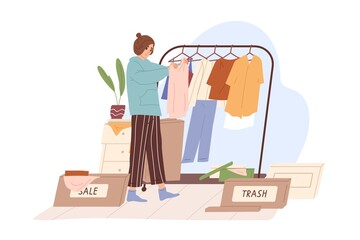 Obraz Woman decluttering and organizing wardrobe, putting clothes into Sale and Trash boxes. Person taking inventory and sorting out apparels. Colored flat vector illustration isolated on white background - fototapety do salonu