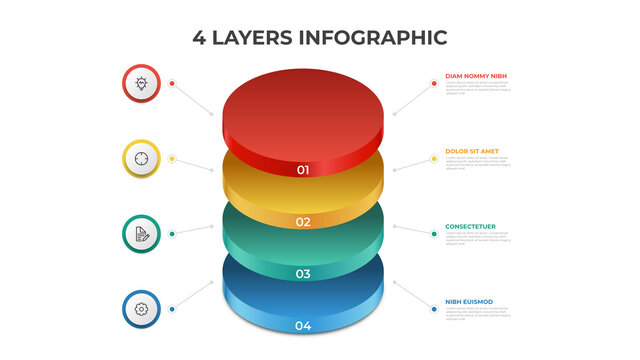 4 layers infographic element template vector, vertical list diagram for presentation layout, etc.