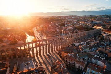 Segovia Roman Aqueduct aerial sunrise view - fototapety na wymiar