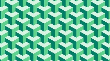 Fototapeta premium Simple green geometric vector pattern with 3d illusion
