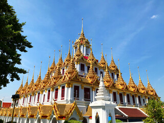 Low Angle View Of Traditional Building Against Sky - Loha Prasat Wat Ratchanatda In Thailand