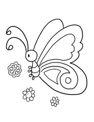 Cute Butterfly Coloring book Page Vector Illustration Art
