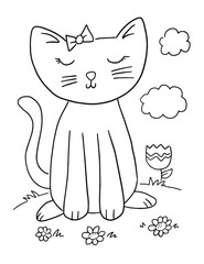 Cute Kitten Cat Coloring Book Page Vector Illustration Art
