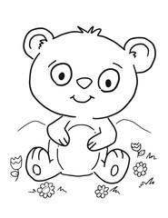 Cute Bear Cub Coloring Book Page Vector Illustration Art