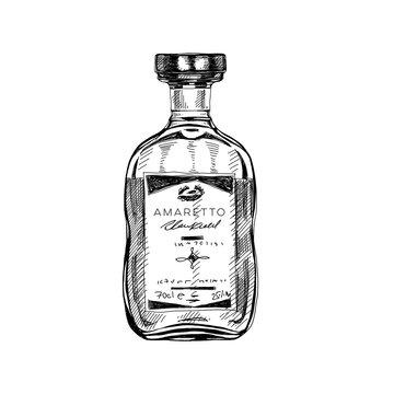 Amaretto bottle, retro hand drawn vector illustration.