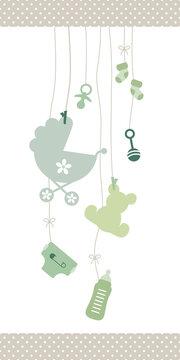 Schmale Karte Hängende Babysymbole Unisex Grün Kanten Punkte Beige