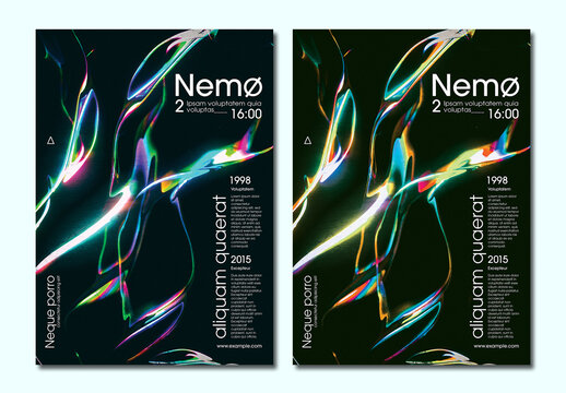 Trendy Iridescent Holographic Background Design Poster Layout