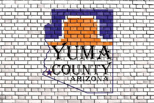 flag of Yuma County, Arizona painted on brick wall
