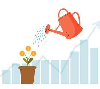 Watering can water the money tree. Growing money. Investment.