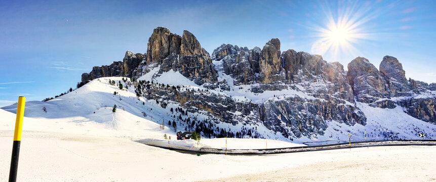Winter sports resort Val Gardena, Gröden in the Dolomites of South Tyrol