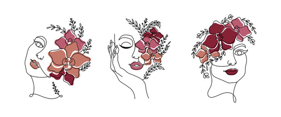 Line art women faces with color flowers. Continuous line art in minimalistic style for prints, tattoos, posters, textile, cards etc. Vector illustration EPS10