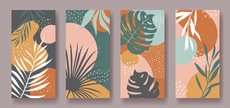 Set of vector vertical banners with abstract ornament and leaves