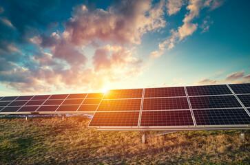 Fototapeta Solar Panels Against The Deep Blue Sky obraz